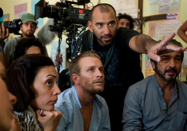 Ricardo Darín, Jérémie Renier, Martina Gusman e Pablo Trapero sul set di Elefante Blanco